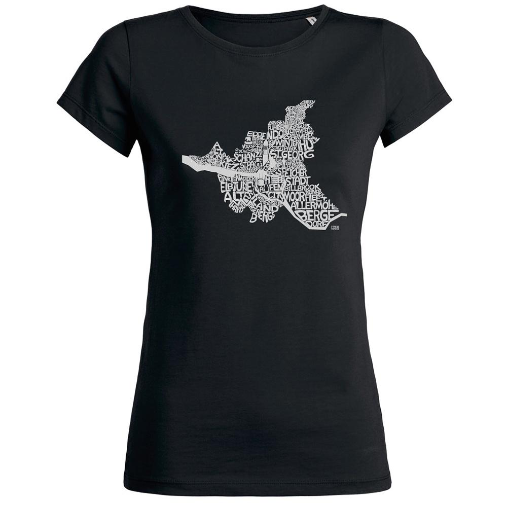 813271d3a0f852 Edles Damen T-Shirt mit Hamburg-Motiv aus Bio-Baumwolle schwarz ...